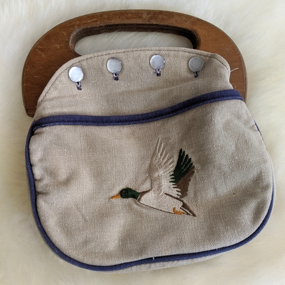 Vintage Handmade Preppy Embroidered Canvas Handbag